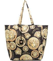 versace medusa head print tote bag - black