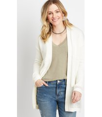 maurices womens soft white open stitch cardigan
