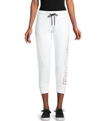 dkny sport women's logo drawstring cropped pants - white - size xl