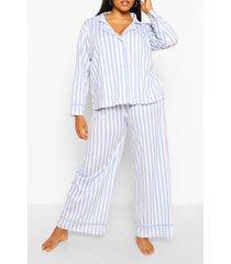 plusmaat jersey pyjama met snoepstrepen, blauw
