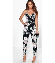 floral print cami wrap strappy jumpsuit, multi
