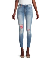 driftwood women's jackie high-rise patch skinny jeans - light wash - size 26 (2-4)