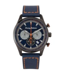 tommy bahama men's kapalua black leather strap watch, 44mm