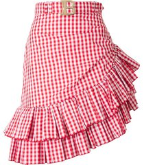 gingham rok met ruches