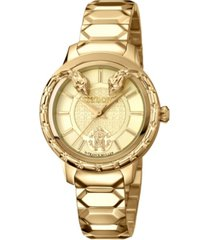 roberto cavalli by franck muller women's swiss quartz gold stainless steel bracelet watch, 34mm