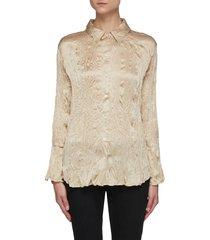 flare cuff crinkle silk shirt