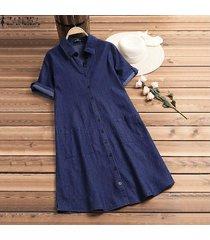 zanzea mujer verano manga corta tallas grandes hasta la rodilla suelto vestido de mezclilla sundress básico -azul oscuro