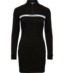 milano mock neck zip logo dress jurk knielengte zwart calvin klein jeans