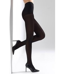 natori velvet touch tights, women's, black, microfiber, size l/xl natori