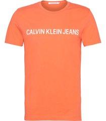 institutional logo  slim t-shirt naranja calvin klein