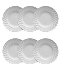 conjunto 6 pratos fundos porcelana germer tangram 24cm branco