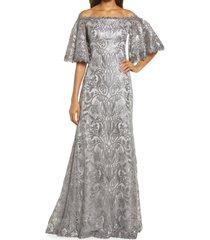 women's tadashi shoji sequin bell sleeve gown, size 14 - metallic