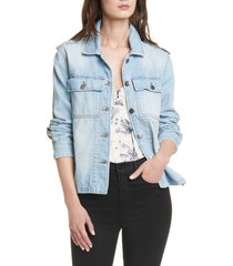 women's frame cargo mix shirt jacket
