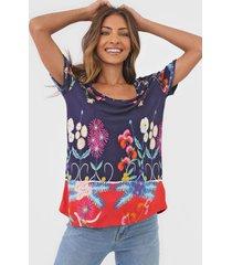 camiseta desigual tropic india azul-marinho