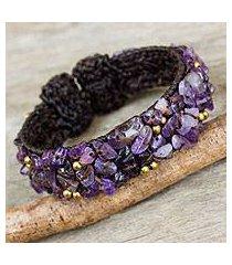 amethyst cuff bracelet, 'violet twilight' (thailand)
