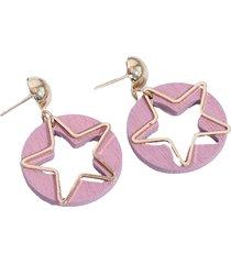 aretes rosa con estrella sasmon ar-11200