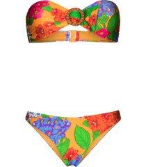 zimmermann riders bandeau-style bikini set - orange