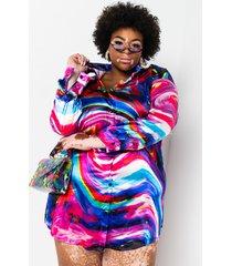 akira plus get it all swirl satin print shirt dress