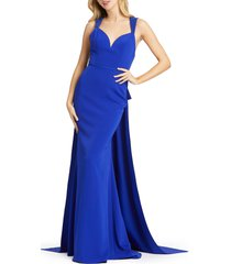 women's mac duggal bow sash embellished gown, size 0 - blue