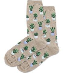 hot sox women's succulents crew socks