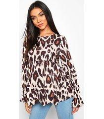 maternity leopard print smock top, tan