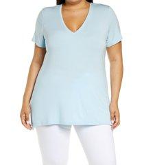 plus size women's halogen v-neck t-shirt, size 1x - blue
