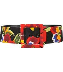 carolina herrera floral square buckle belt - black