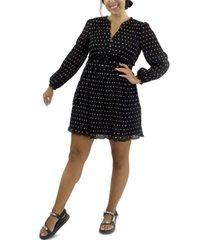 crystal doll juniors' long-sleeve polka-dot dress
