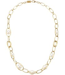 nova 18k yellow gold & pearl 6-station necklace