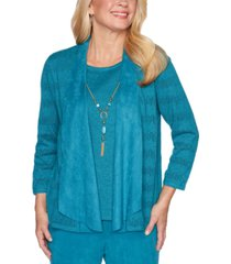 alfred dunner walnut layered-look draped necklace sweater