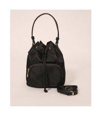 bolsa bucket de nylon alça transversal com bolso preta