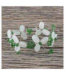 aventurine and quartz beaded bracelet, 'luck of the irish' (thailand)