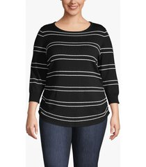 lane bryant women's 3/4-sleeve striped ruched-side sweater 26/28 black and white