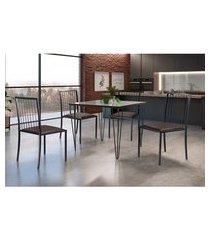 conjunto de mesa de jantar grécia com tampo de vidro mocaccino e 4 cadeiras atos couríssimo marrom e grafite