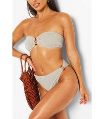 petite crinkle mock horn o-ring bikini top, sage