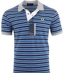 fred perry men's short sleeve cotton pique polo shirt striped size m, l, xxl