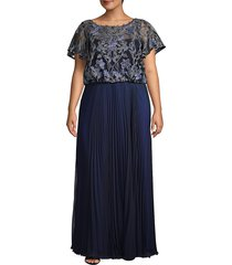 js collections women's plus embroidered mesh pleated gown - blue - size 18