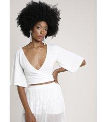 blusa feminina cropped transpassada manga curta decote v off white