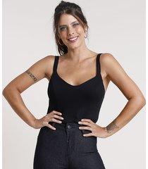 top cropped feminino canelado alça fina decote v preto