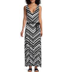 la blanca women's chevron maxi coverup dress - black white - size s