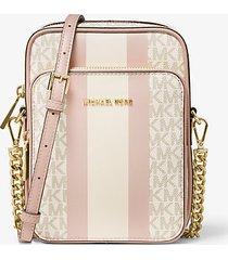 mk borsa a tracolla jet set media a righe con logo - vanilla/soft pink - michael kors