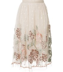 biyan floral embroidered mesh skirt - white