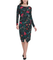 tommy hilfiger floral-print asymmetrical jersey dress
