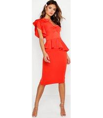 one shoulder twist front peplum midi dress, orange