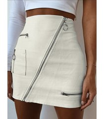 falda de cintura alta con cremallera de cuero de pu blanca diseño
