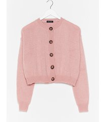 womens cropped cardigan with ribbed edges - pink