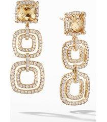 women's david yurman chatelaine pave diamond bezel 18k gold convertible drop earrings