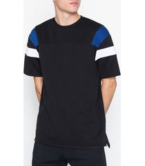 topman black panelled t-shirt t-shirts & linnen black