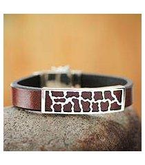 men's leather bracelet, 'wilderness' (peru)