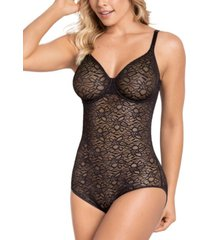 leonisa underwire smoothing lace bodysuit